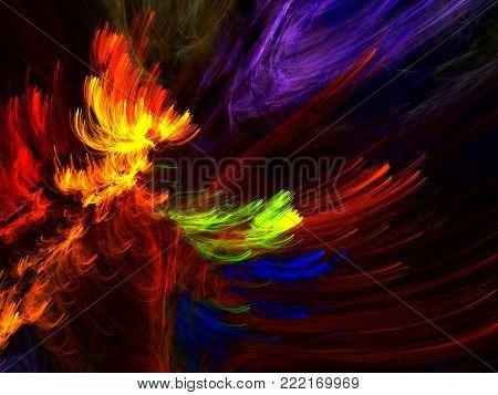 Fractal Pinnate Bright  Fern  -  Fractal Abstract Art