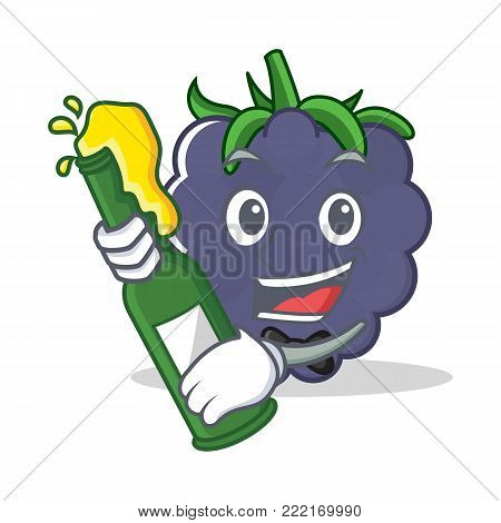 With beer blackberry mascot cartoon style vector illustration