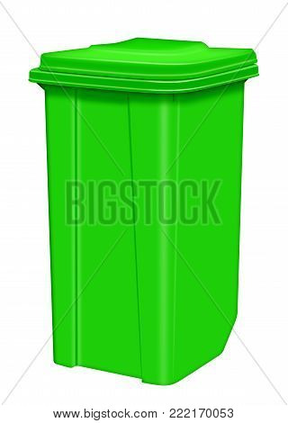 Green plastic trash can isolated on white background