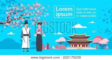 CoupleIn Traditional Korea Costumes Over Sakura Blossom And Korea Palace Landscape Flat Vector Illustration