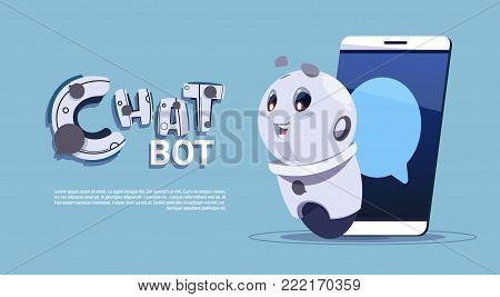 Chat Bot In Smart Phone Cute Robot Template Banner With Copy Space, Chatter Or Chatterbot Technical Support Service Concept Flat Vector Illustration