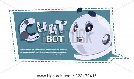 Chatbot Cute Robot Template Banner With Copy Space, Chatter Or Chatterbot Technical Support Chat Bot Service Concept Flat Vector Illustration
