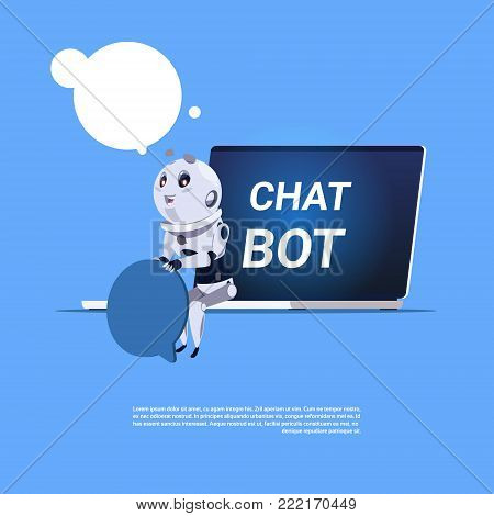 Chat Bot App Of Technical Support In Laptop Template Banner With Copy Space, Chatter Or Chatterbot Virtual Web Service Concept Flat Vector Illustration