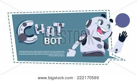 Chat Bot App Cute Robot Chatter Or Chatterbot Technical Support Service ConceptTemplate Banner With Copy Space Flat Vector Illustration