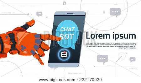 Chat Bot Service App Concept Robot Hand Touch Smart Phone Template Banner With Copy Space, Chatterbot Technical Support Technology Concept Flat Vector Illustration