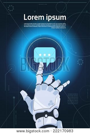 Robotic Hand Touch Chat Bubble Icon Robots Communication And Artificial Intelligence Concept Flat Vector Illustration