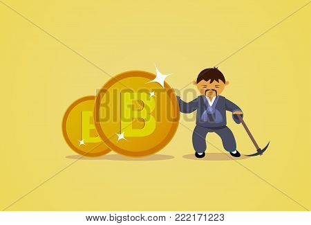 Bitcoin Mining Concept Asian Man In Traditional Clothes Hold Pickaxe Cryptocurrency Web Money Technology Flat Vector Illustration