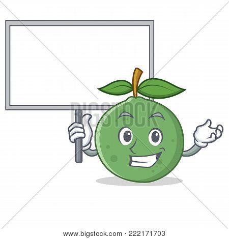 Bring board guava character cartoon style vector illustration