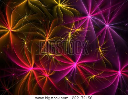 Bright Abstract Flower Background - Fractal Art