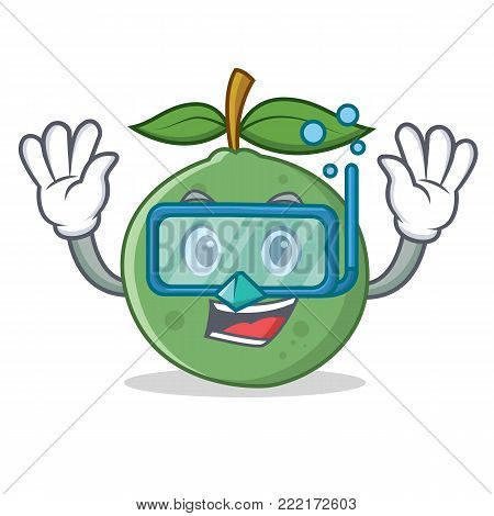 Diving guava character cartoon style vector illustration