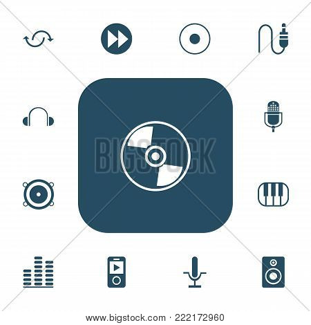 Set of 13 editable music icons. Includes symbols such as studio mic, advanced, music speaker and more. Can be used for web, mobile, UI and infographic design.