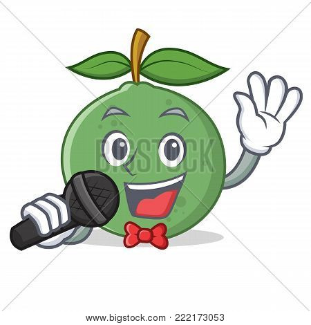 Singing guava mascot cartoon style vector illustration