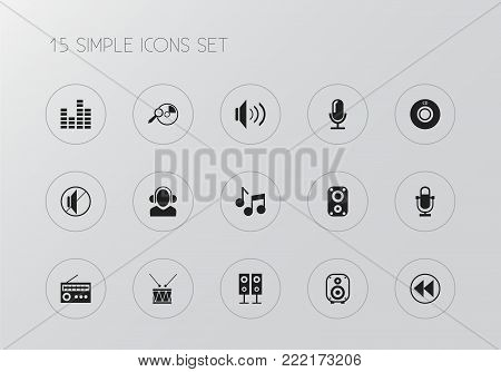 Set of 15 editable sound icons. Includes symbols such as timpano, mute, radio and more. Can be used for web, mobile, UI and infographic design.