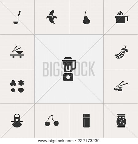 Set of 13 editable food icons. Includes symbols such as bean pod, ladle, squeezer and more. Can be used for web, mobile, UI and infographic design.
