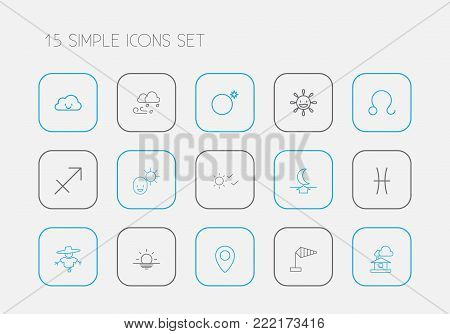 Set of 15 editable air icons line style. Includes symbols such as male, sunrise, domicile and more. Can be used for web, mobile, UI and infographic design.