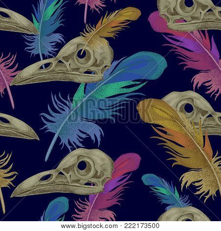 Seamless vector pattern with skulls and crow feathers. Decorative composition on the theme of death.