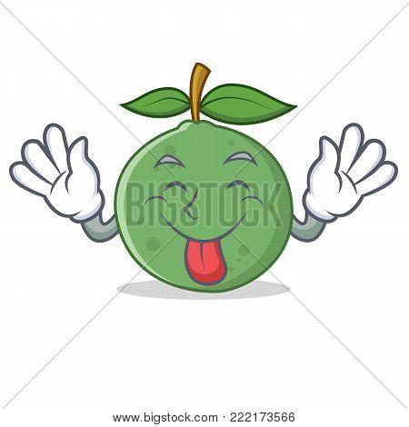 Tongue out guava mascot cartoon style vector illustration