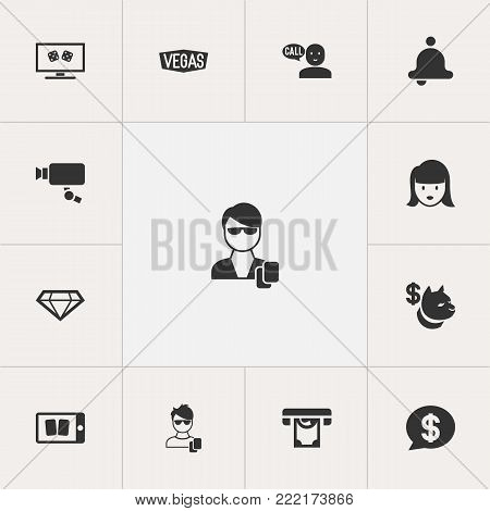 Set of 13 editable business icons. Includes symbols such as vegas, man gamer, security camera and more. Can be used for web, mobile, UI and infographic design.