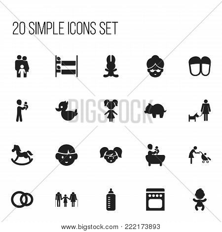 Set of 20 editable folks icons. Includes symbols such as bath toys , grandma, pony. Can be used for web, mobile, UI and infographic design.