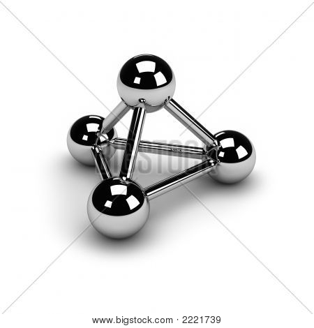 3 chrome spheresconnected to each other isolated over a white background with a soft shadow. The symbol of connection. A molecule or a net. poster