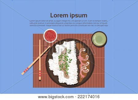 Korean Food Plate With Rice And Spicy Sauces Asian Thai Dishes Top Angle View Template Background Flat Vector Illustration