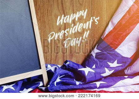 Happy President's Day Typography on USA Flag Scene and Chalkboard. Photo Illustration
