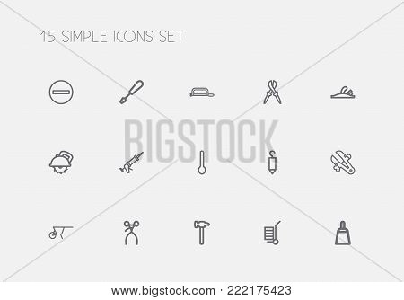 Set of 15 editable instrument icons line style. Includes symbols such as handcart, pliers, plane. Can be used for web, mobile, UI and infographic design.