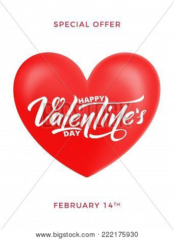 Valentines Day. Poster for Valentine's sale, promo etc. Glossy heart and script lettering.