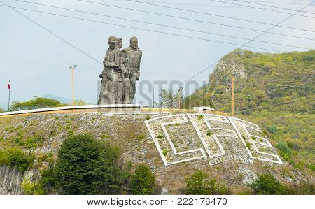 Chiapas, Mexico - 2 December:  Statue Dedicated To The Workers Of The Chicoasen Dam On December 2, 2