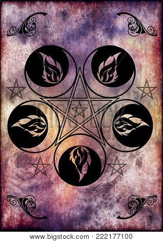 Background with the symbol of the wiccan goddess and pentacles.