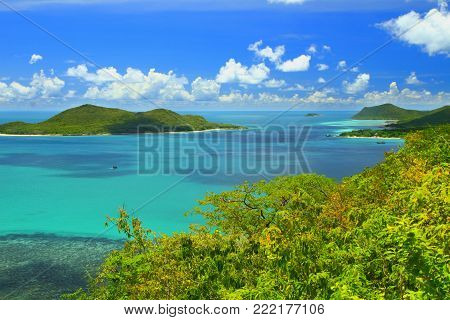 Viewpoint and beautiful blue seascape at Khao Ma Cho Samaesan beach Chonburi province, Gulf of Thailand.