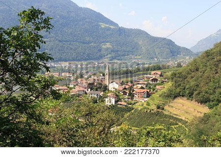 Townscape of Algund and mountain alps panorama in South Tyrol