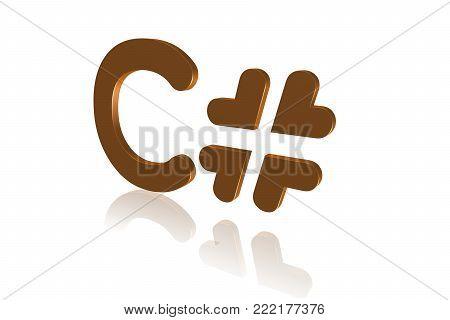 Programming Term - C# - C Sharp- High-level Programming Language - 3d Image