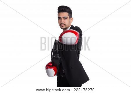 Business Protection Concept, Man In Boxing Gloves