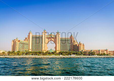Dubai, UAE, March 31, 2017: seaside view of Atlantis Palm Dubai luxury hotel and resort