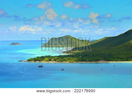 Beautiful of blue seascape at Samaesan Sattahip Chonburi province, Gulf of Thailand.