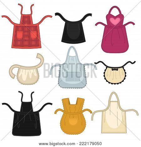 Aprons different isolated vector icons. Set of color houswife cloth aprons for kitchen cooking, sewing or maid and baby pinafore and waiter apron garment uniform