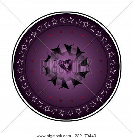 Round ornament with elaborate patterns on an lilac background