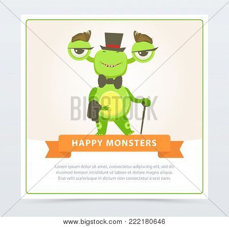 Cute funny green monster gentlemen dressed up top hat and bow tie, happy monsters banner cartoon vector element for website or mobile app with sample text