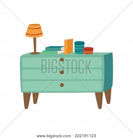 Light blue wooden chest of drawers with lamp and books cartoon vector Illustration on a white background