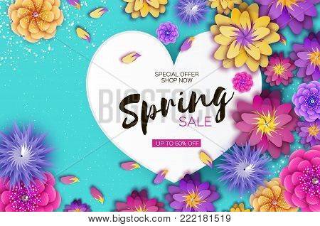Bright Origami Spring Sale Flowers Banner. Paper cut Exotic Tropical Floral Greetings card. Spring blossom. Love Heart frame. Happy Women's Day. 8 March. Text. Seasonal holiday on blue. Trendy decor. Vector