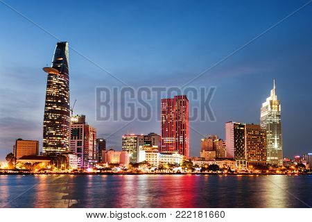 Ho Chi Minh City Skyline At Sunset. Amazing Cityscape
