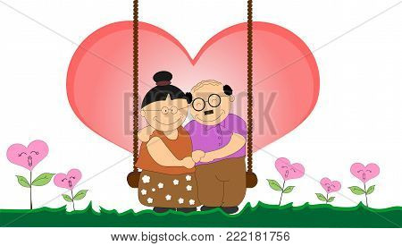 Love of the elderly love for a long time. And also love each other as well as life. Love is single Valentine's Day Concept (illustration)