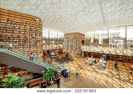 View Of Huge Bookshelves At The Starfield Library Reading Area