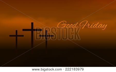 Good friday background. Silhouette of three cross crucifix in a fog