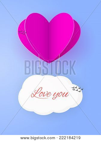 Aerial love leaflet with paper heart and clod