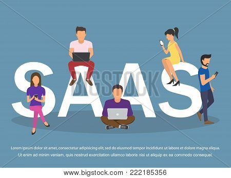 Concept of SaaS, software as a service. Men and women work in the cloud software on computers and mobile devices.