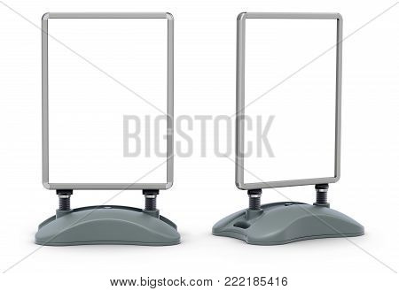 Blank water base pavement street sign frame board on white background - 3D illustration