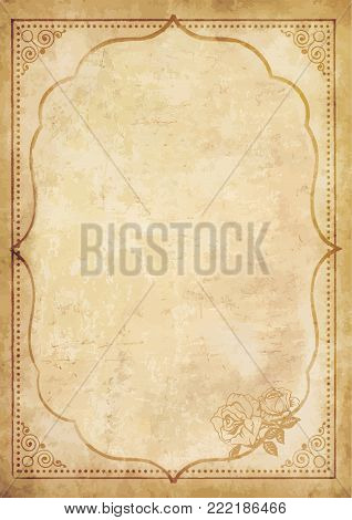 Old grungy vintage paper blank with curly oriental frame ornament and lovely rose flower in the corner. Worn template for mail, aged letter paper with space for text or image. Vector illustration.