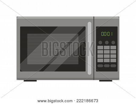 Microwave. Flat design. Vector illustration. microwave button.